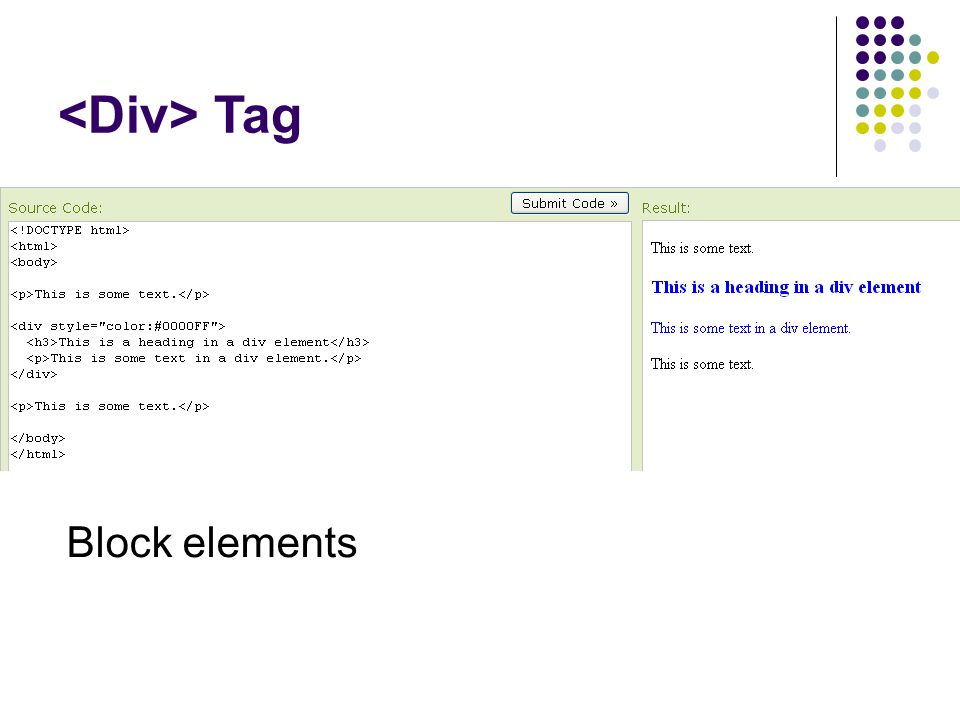 Tag Block elements