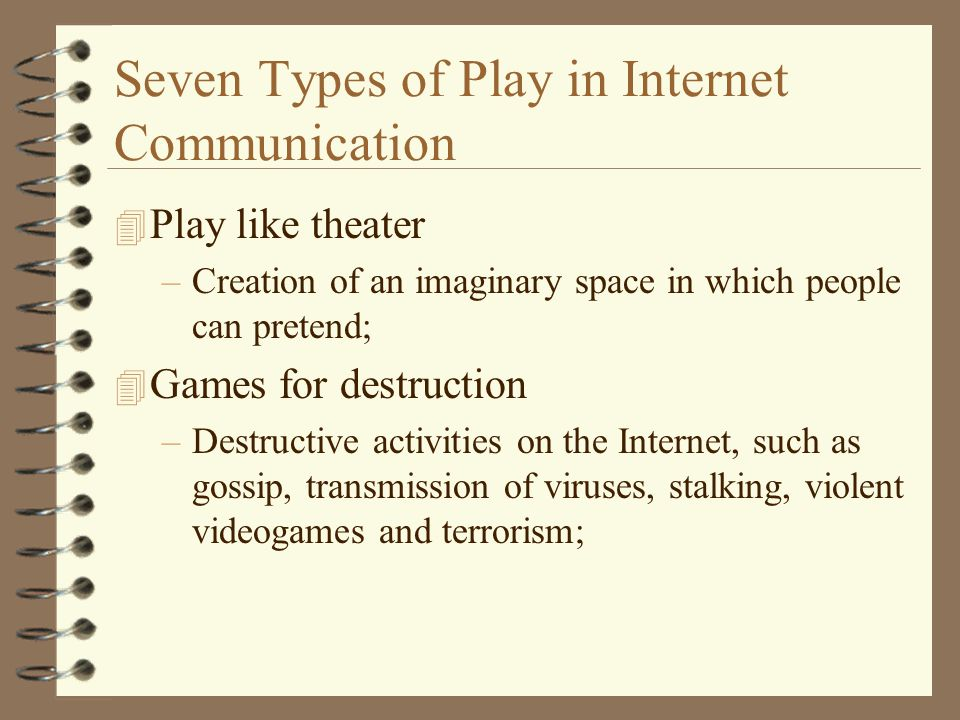 Seven Types of Play in Internet Communication 4 Play like theater –Creation of an imaginary space in which people can pretend; 4 Games for destruction –Destructive activities on the Internet, such as gossip, transmission of viruses, stalking, violent videogames and terrorism;