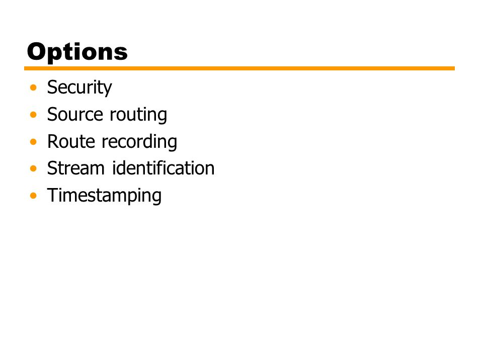 Options Security Source routing Route recording Stream identification Timestamping