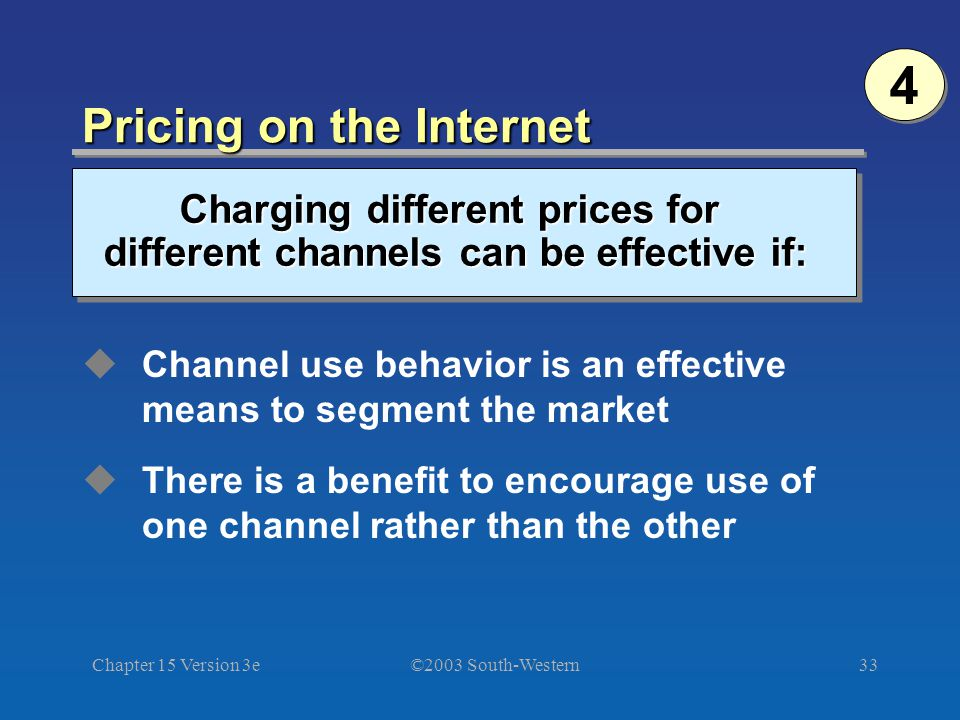 ©2003 South-Western Chapter 15 Version 3e33 4 4 Charging different prices for different channels can be effective if: Pricing on the Internet Channel use behavior is an effective means to segment the market There is a benefit to encourage use of one channel rather than the other
