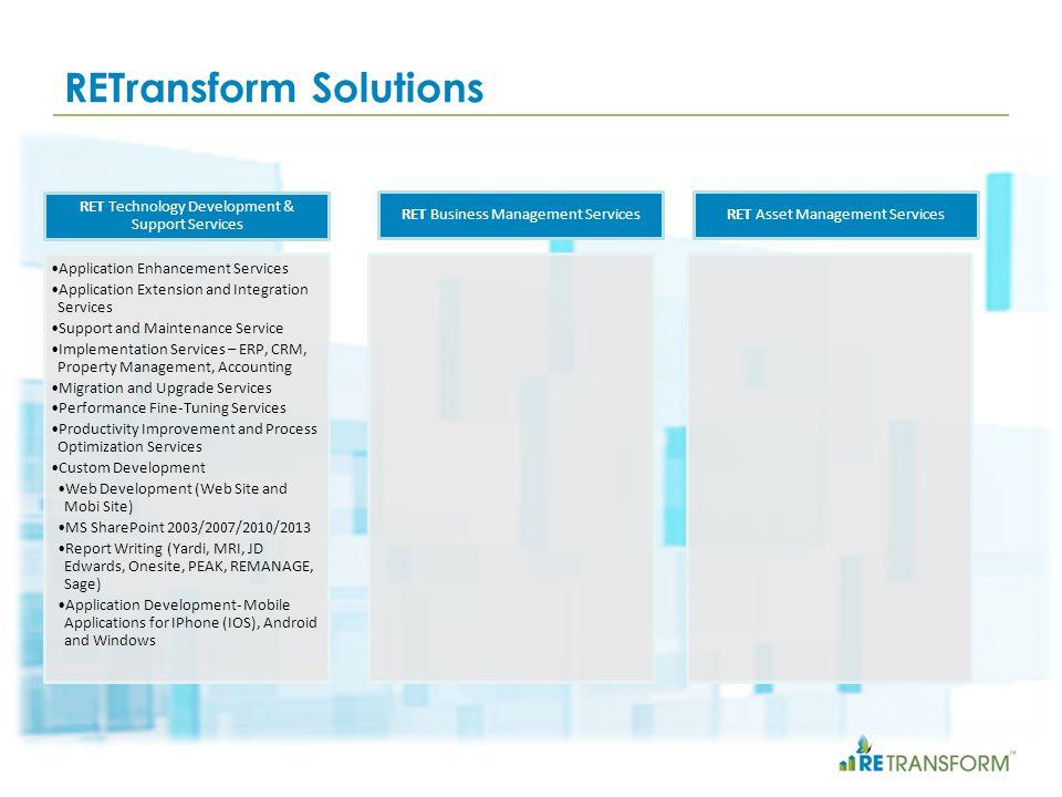 RETransform Solutions RET Technology Development & Support Services Application Enhancement Services Application Extension and Integration Services Su
