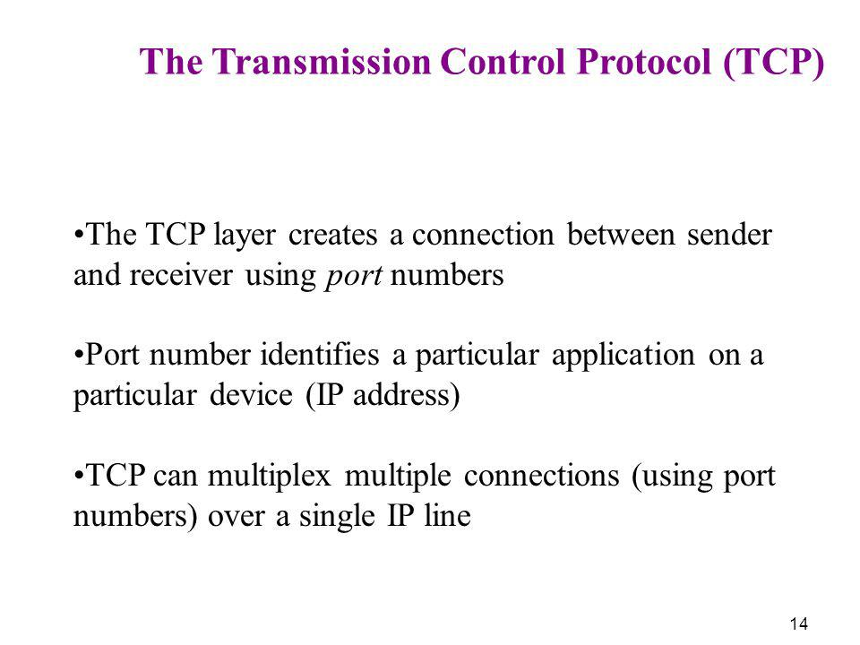 14 The Transmission Control Protocol (TCP) The TCP layer creates a connection between sender and receiver using port numbers Port number identifies a