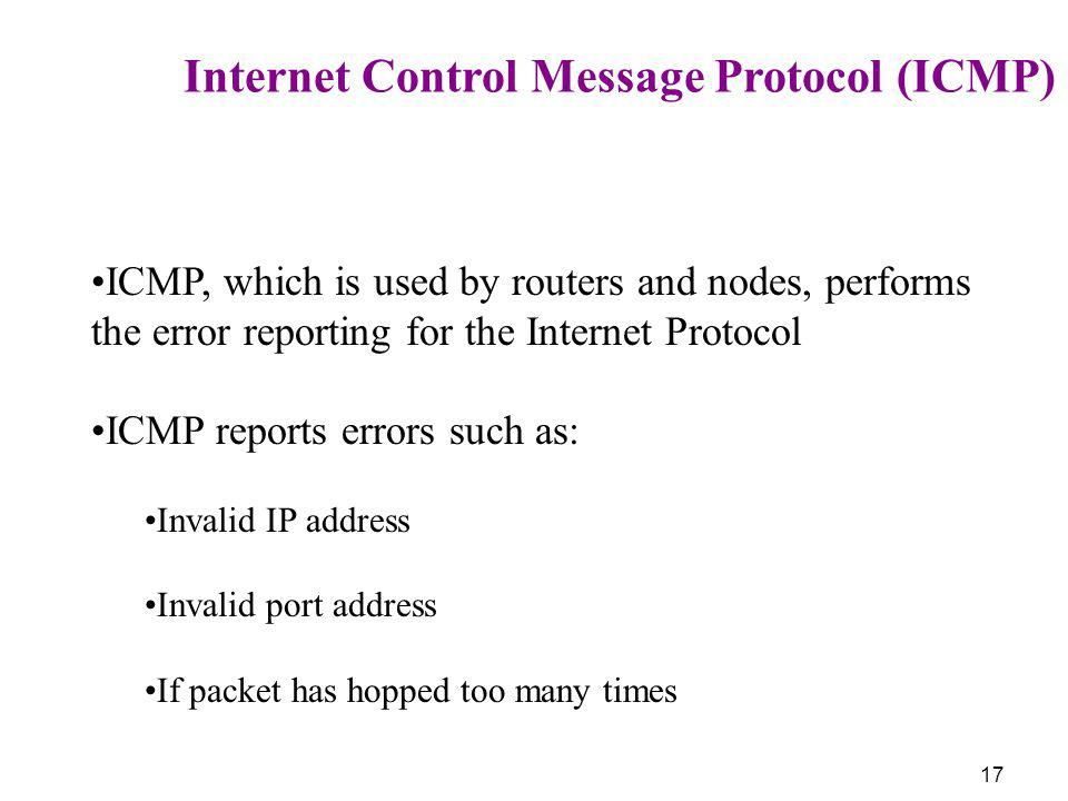 17 Internet Control Message Protocol (ICMP) ICMP, which is used by routers and nodes, performs the error reporting for the Internet Protocol ICMP repo