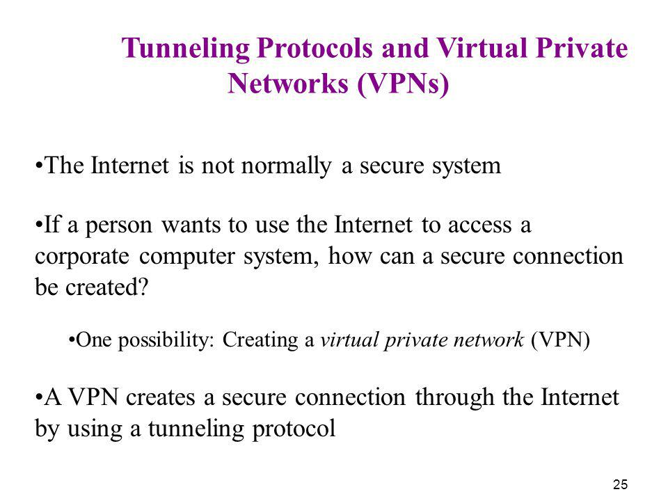 25 Tunneling Protocols and Virtual Private Networks (VPNs) The Internet is not normally a secure system If a person wants to use the Internet to acces