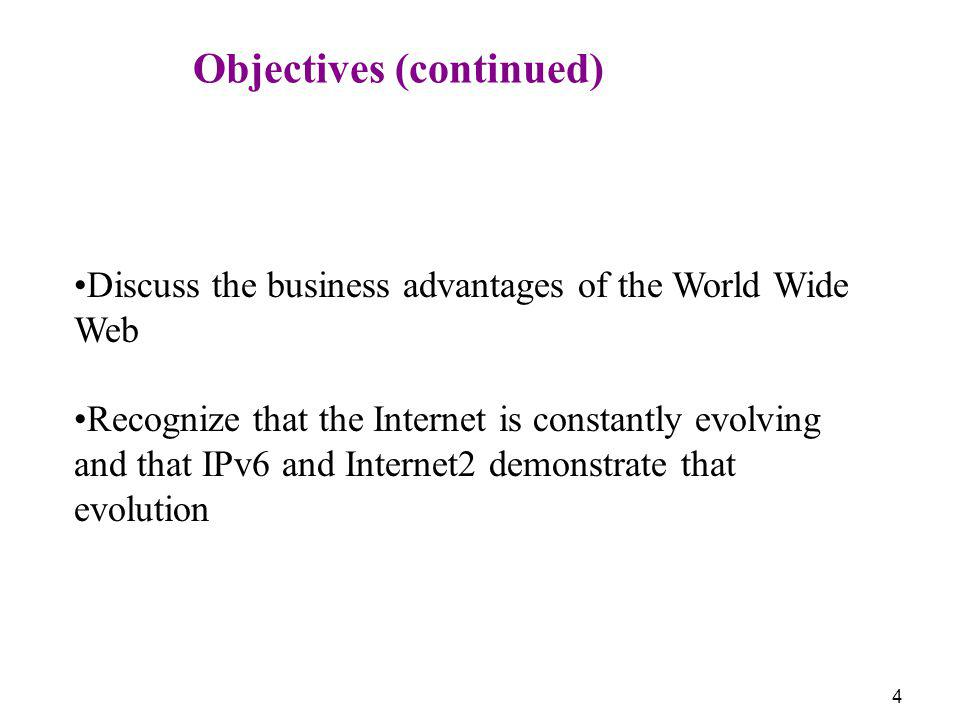 4 Objectives (continued) Discuss the business advantages of the World Wide Web Recognize that the Internet is constantly evolving and that IPv6 and In