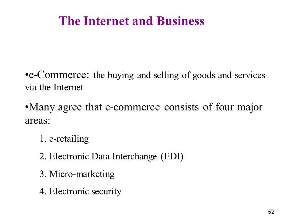 52 The Internet and Business e-Commerce: the buying and selling of goods and services via the Internet Many agree that e-commerce consists of four maj