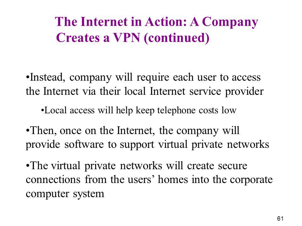61 The Internet in Action: A Company Creates a VPN (continued) Instead, company will require each user to access the Internet via their local Internet