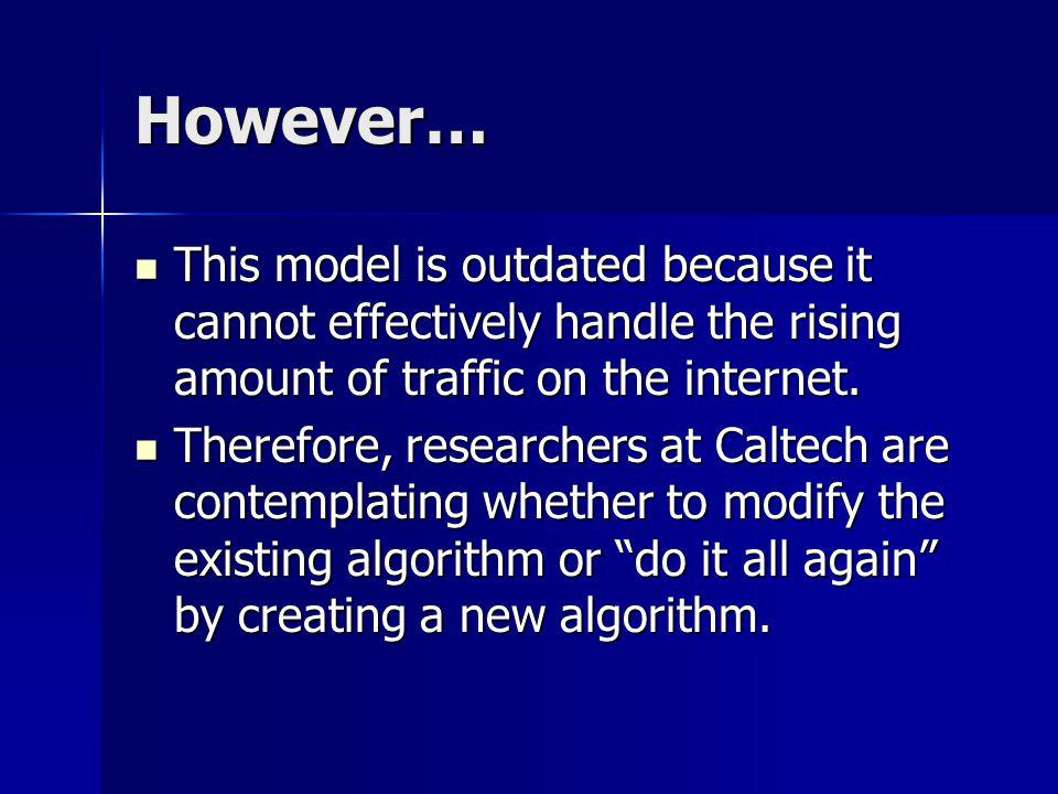 However… This model is outdated because it cannot effectively handle the rising amount of traffic on the internet. This model is outdated because it c