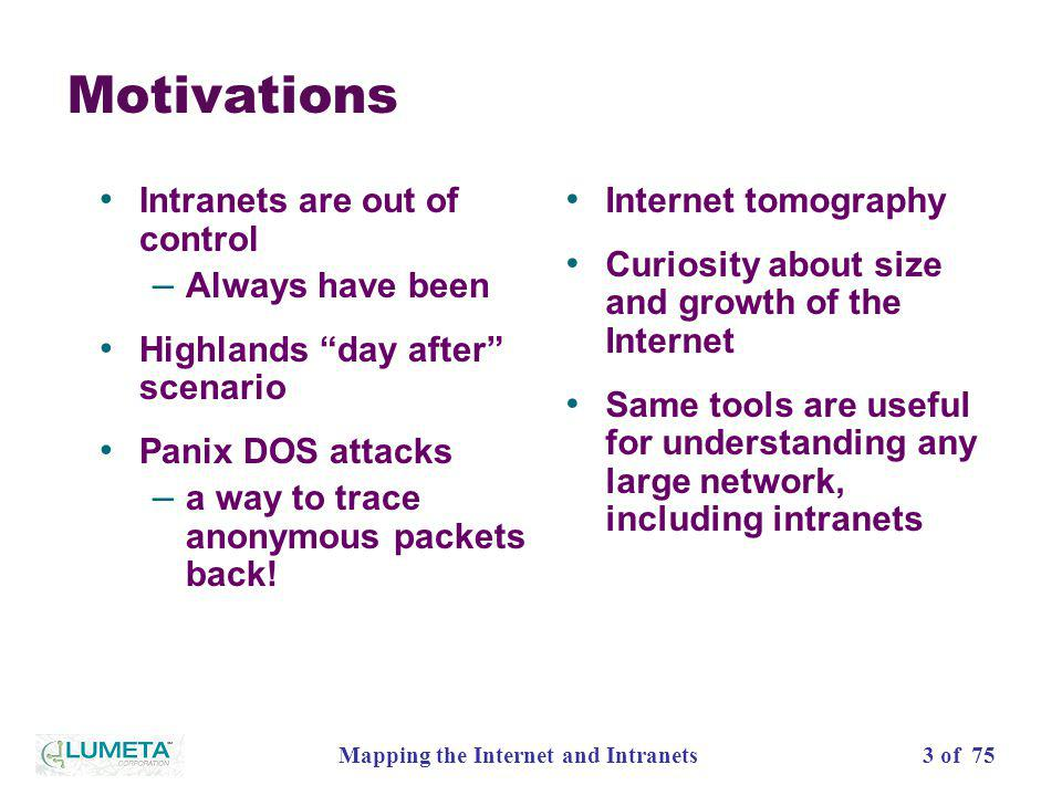 3 of 75Mapping the Internet and Intranets Motivations Intranets are out of control – Always have been Highlands day after scenario Panix DOS attacks –