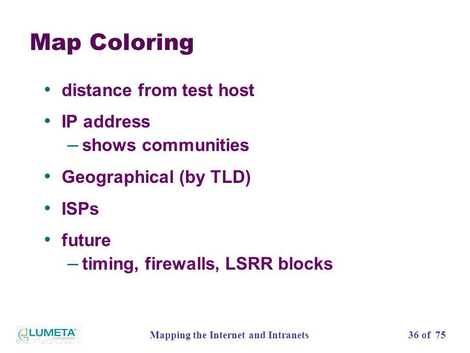 36 of 75Mapping the Internet and Intranets Map Coloring distance from test host IP address – shows communities Geographical (by TLD) ISPs future – tim