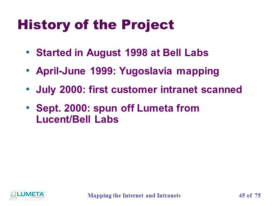 45 of 75Mapping the Internet and Intranets History of the Project Started in August 1998 at Bell Labs April-June 1999: Yugoslavia mapping July 2000: f