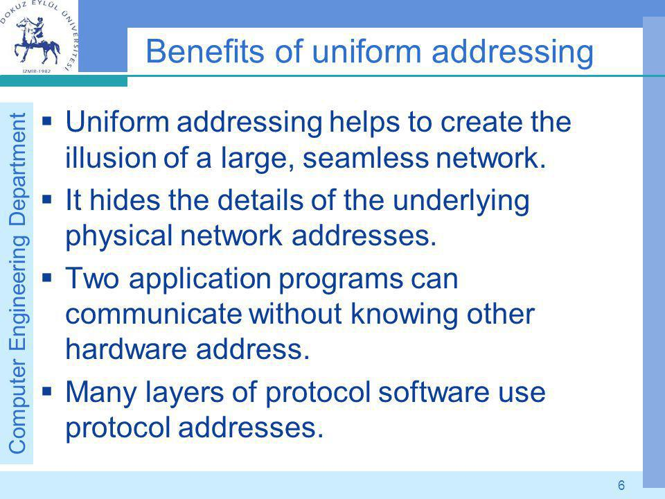 Computer Engineering Department 7 Summary To provide uniform addressing in an internet, protocol software defines an abstract addressing scheme that assigns each host a unique address.