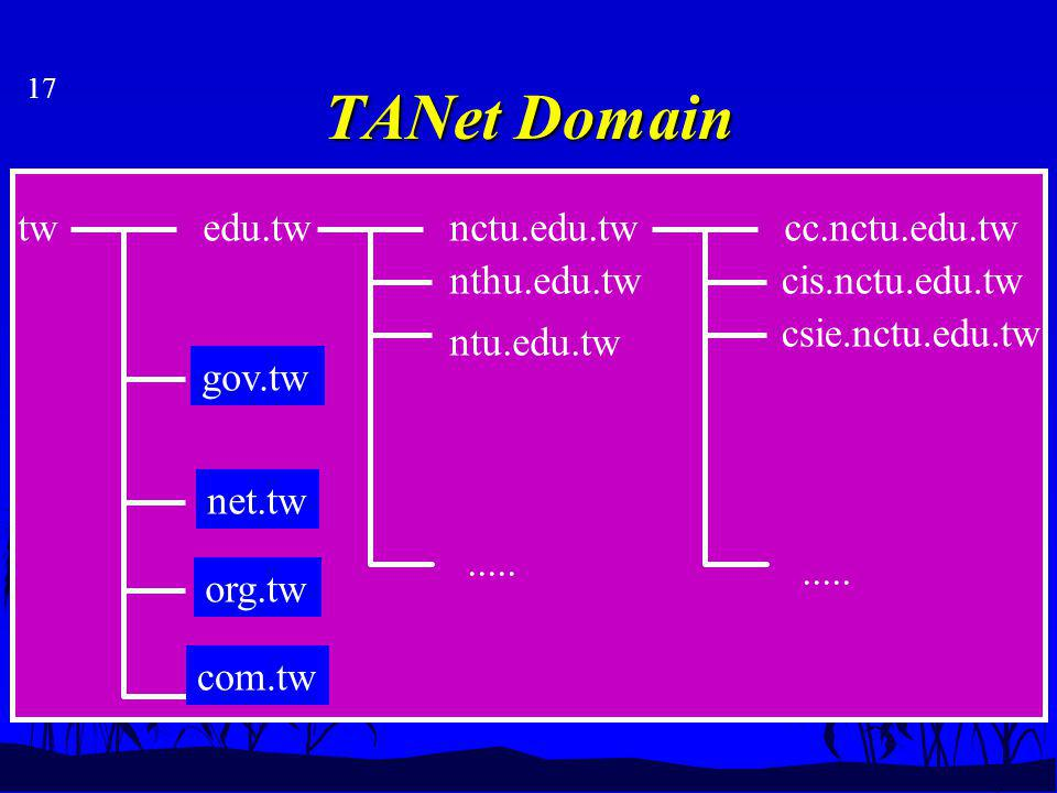 17 TANet Domain twedu.tw org.tw nctu.edu.tw nthu.edu.tw ntu.edu.tw cc.nctu.edu.tw cis.nctu.edu.tw csie.nctu.edu.tw.....