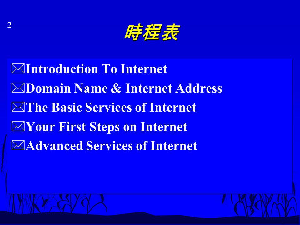 2 *Introduction To Internet *Domain Name & Internet Address *The Basic Services of Internet *Your First Steps on Internet *Advanced Services of Internet *Introduction To Internet *Domain Name & Internet Address *The Basic Services of Internet *Your First Steps on Internet *Advanced Services of Internet