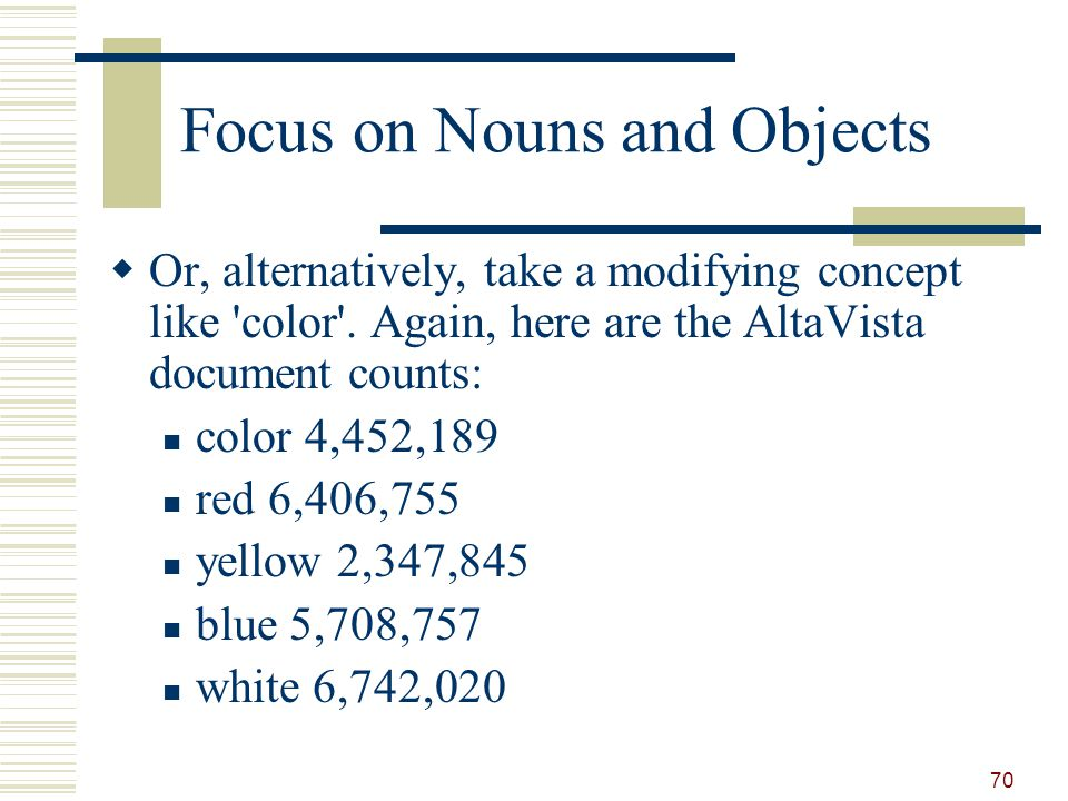 Focus on Nouns and Objects Or, alternatively, take a modifying concept like color .