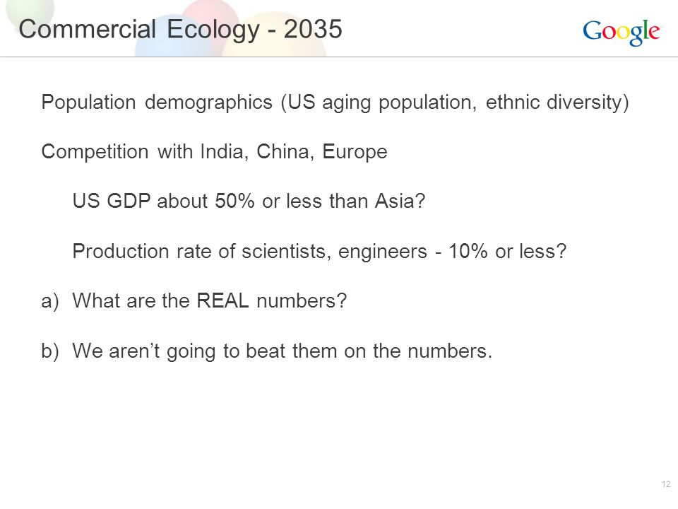 12 Commercial Ecology - 2035 Population demographics (US aging population, ethnic diversity) Competition with India, China, Europe US GDP about 50% or less than Asia.