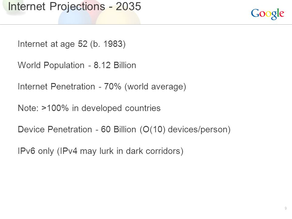 9 Internet Projections - 2035 Internet at age 52 (b.