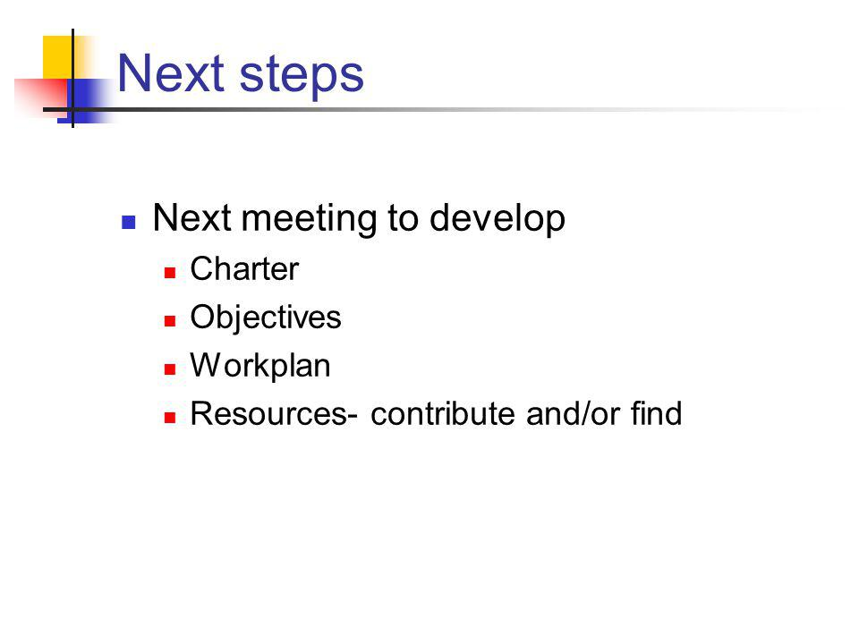 Next steps Next meeting to develop Charter Objectives Workplan Resources- contribute and/or find