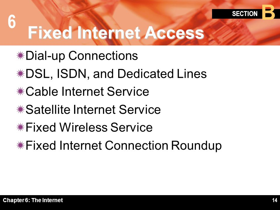 6 SECTION B Chapter 6: The Internet14 Fixed Internet Access Dial-up Connections DSL, ISDN, and Dedicated Lines Cable Internet Service Satellite Intern