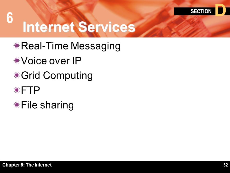6 SECTION D Chapter 6: The Internet32 Internet Services Real-Time Messaging Voice over IP Grid Computing FTP File sharing