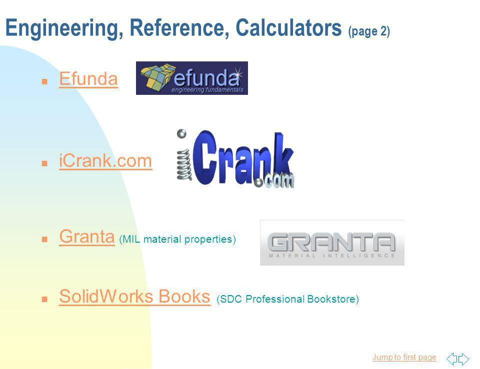 Jump to first page Engineering, Reference, Calculators (page 2) n Efunda Efunda n iCrank.com iCrank.com n Granta (MIL material properties) Granta n So