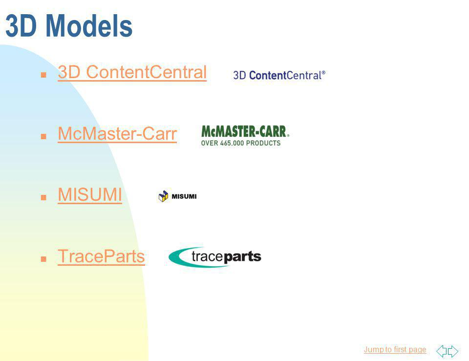 Jump to first page 3D Models n 3D ContentCentral 3D ContentCentral n McMaster-Carr McMaster-Carr n MISUMI MISUMI n TraceParts TraceParts