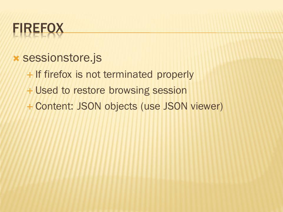 sessionstore.js If firefox is not terminated properly Used to restore browsing session Content: JSON objects (use JSON viewer)