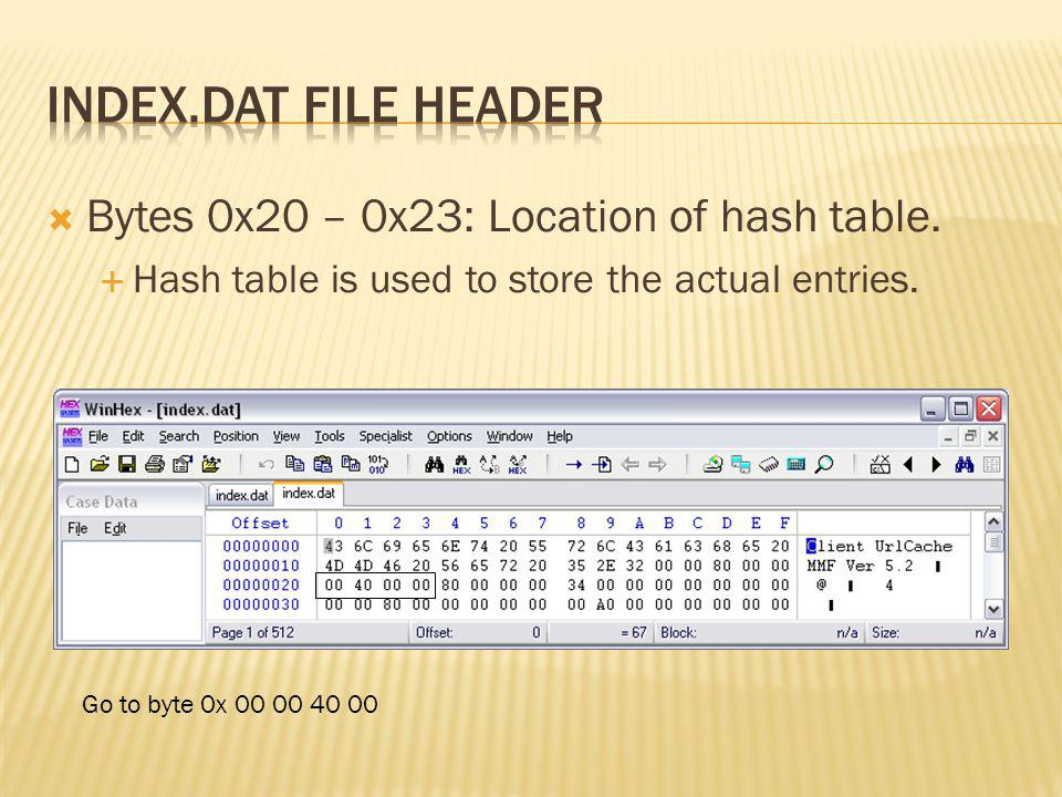 Bytes 0x20 – 0x23: Location of hash table. Hash table is used to store the actual entries. Go to byte 0x 00 00 40 00