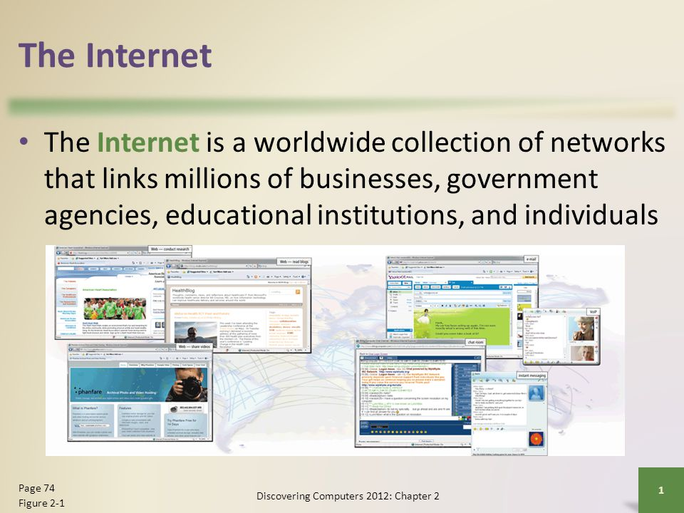 Evolution of the Internet The Internet originated as ARPANET in September 1969 and had two main goals: Discovering Computers 2012: Chapter 2 2 Page 75 Allow scientists at different physical locations to share information and work together Function even if part of the network were disabled or destroyed by a disaster