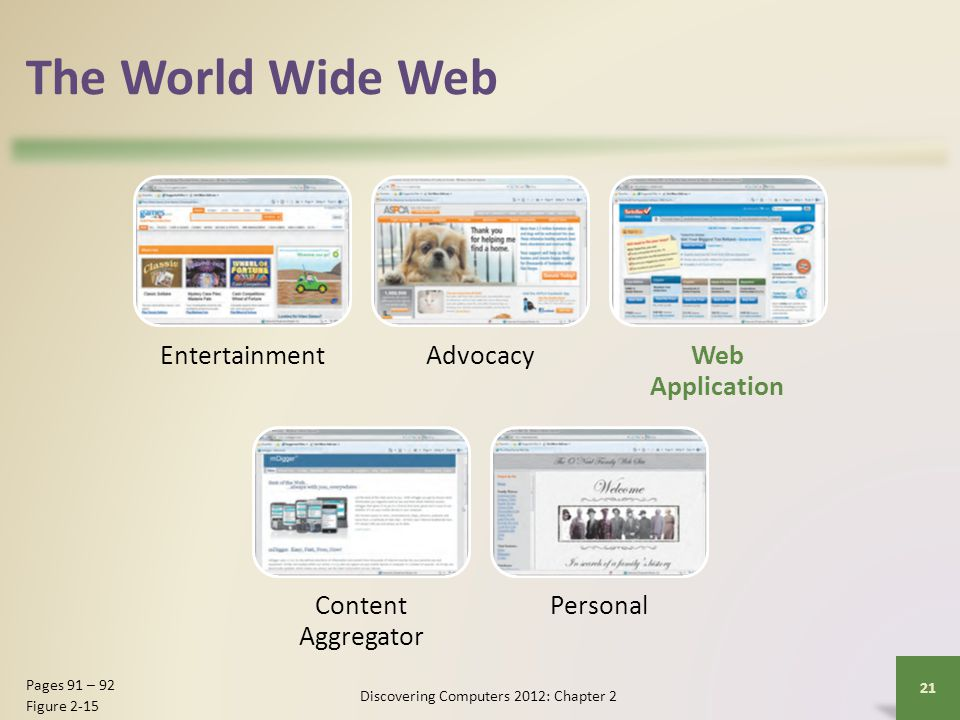 The World Wide Web EntertainmentAdvocacyWeb Application Content Aggregator Personal Discovering Computers 2012: Chapter 2 21 Pages 91 – 92 Figure 2-15