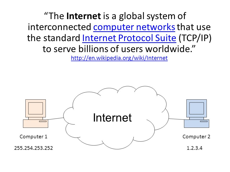 The Internet is a global system of interconnected computer networks that use the standard Internet Protocol Suite (TCP/IP) to serve billions of users worldwide.