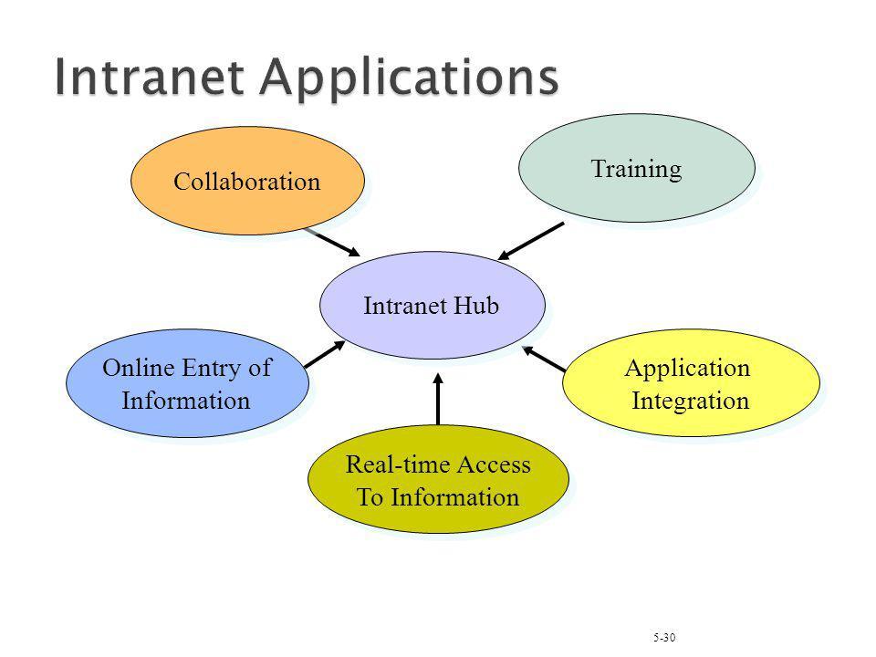 5-30 Intranet Hub Online Entry of Information Online Entry of Information Application Integration Application Integration Training Collaboration Real-time Access To Information Real-time Access To Information