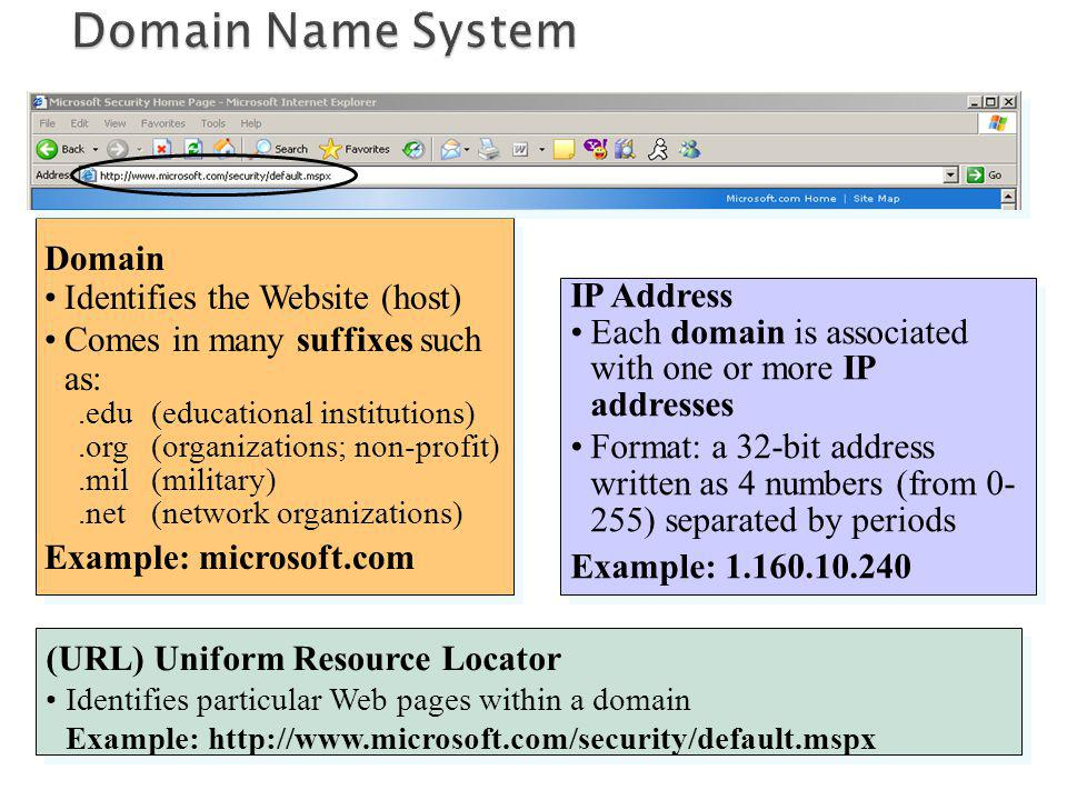 Domain Identifies the Website (host) Comes in many suffixes such as:.edu(educational institutions).org (organizations; non-profit).mil (military).net