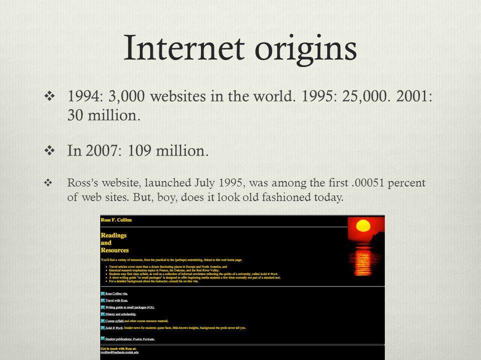 Internet origins 1994: 3,000 websites in the world.