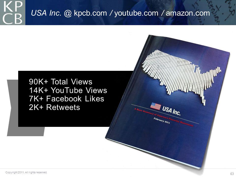 63 Copyright 2011. All rights reserved. USA Inc. @ kpcb.com / youtube.com / amazon.com 90K+ Total Views 14K+ YouTube Views 7K+ Facebook Likes 2K+ Retw