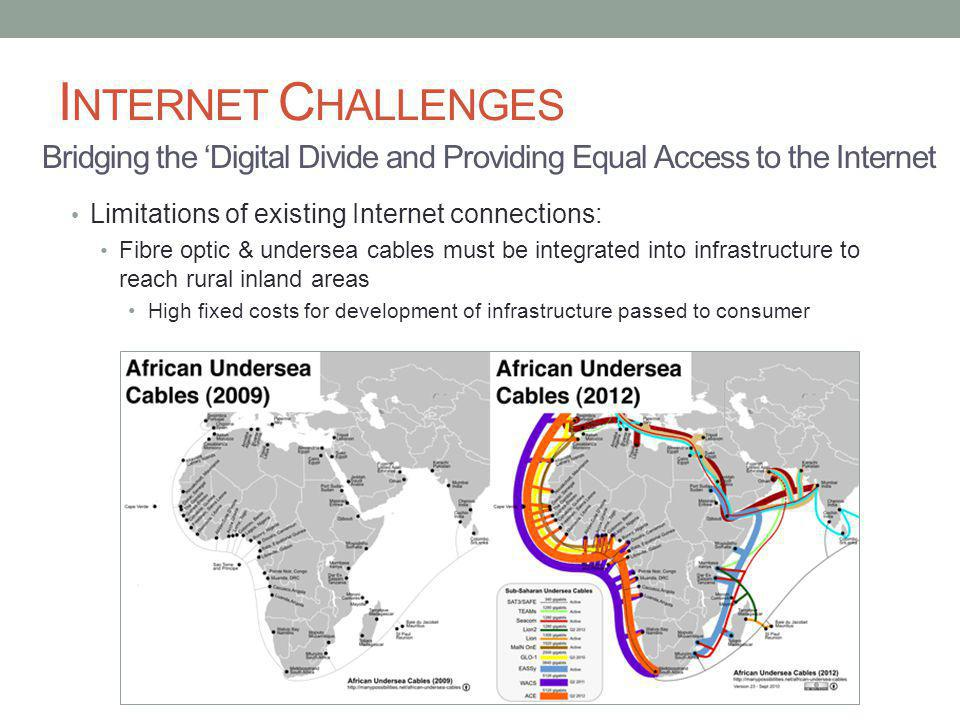 I NTERNET C HALLENGES Limitations of existing Internet connections: Fibre optic & undersea cables must be integrated into infrastructure to reach rural inland areas High fixed costs for development of infrastructure passed to consumer Bridging the Digital Divide and Providing Equal Access to the Internet