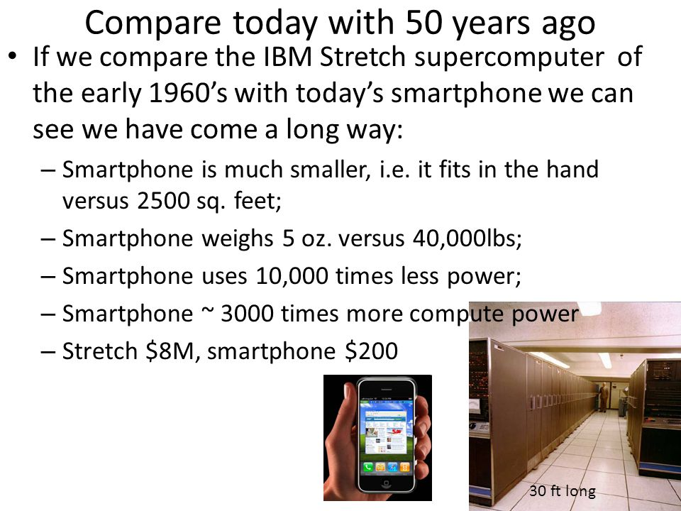 Compare today with 50 years ago If we compare the IBM Stretch supercomputer of the early 1960s with todays smartphone we can see we have come a long w