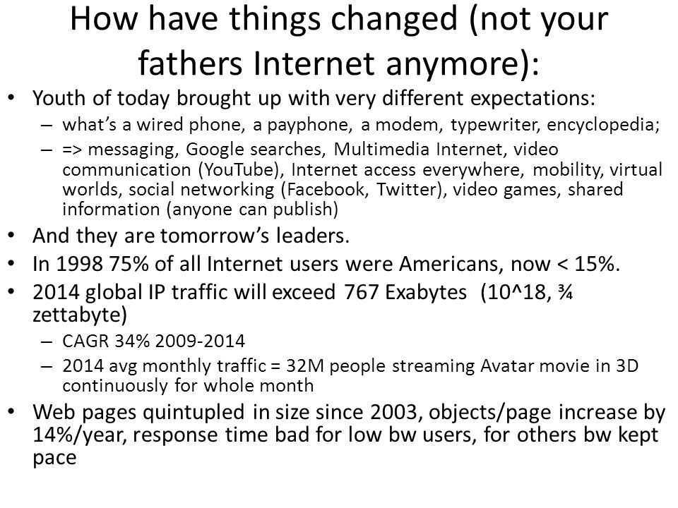 How have things changed (not your fathers Internet anymore): Youth of today brought up with very different expectations: – whats a wired phone, a payp