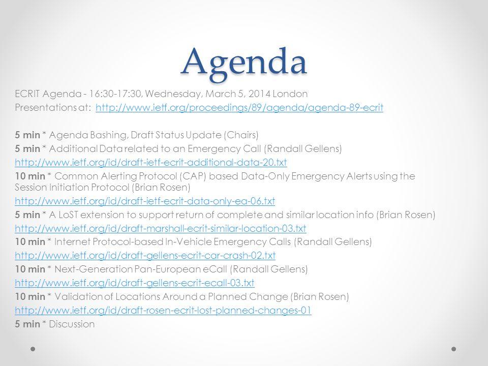 Agenda ECRIT Agenda - 16:30-17:30, Wednesday, March 5, 2014 London Presentations at: http://www.ietf.org/proceedings/89/agenda/agenda-89-ecrithttp://w