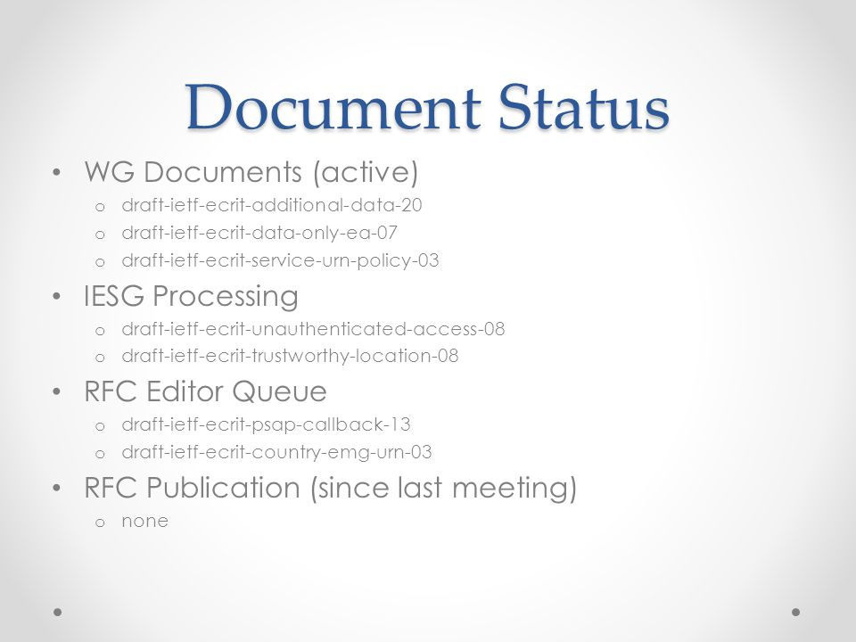 Document Status WG Documents (active) o draft-ietf-ecrit-additional-data-20 o draft-ietf-ecrit-data-only-ea-07 o draft-ietf-ecrit-service-urn-policy-03 IESG Processing o draft-ietf-ecrit-unauthenticated-access-08 o draft-ietf-ecrit-trustworthy-location-08 RFC Editor Queue o draft-ietf-ecrit-psap-callback-13 o draft-ietf-ecrit-country-emg-urn-03 RFC Publication (since last meeting) o none