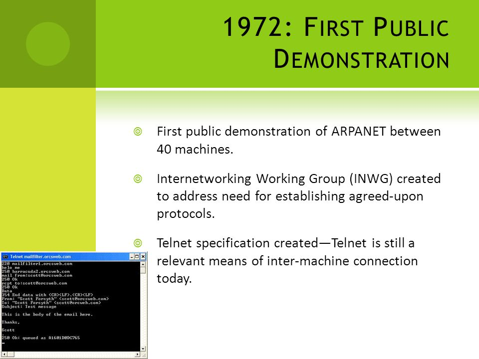 1972: F IRST P UBLIC D EMONSTRATION First public demonstration of ARPANET between 40 machines.