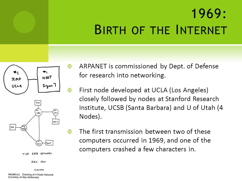 1969: B IRTH OF THE I NTERNET ARPANET is commissioned by Dept.
