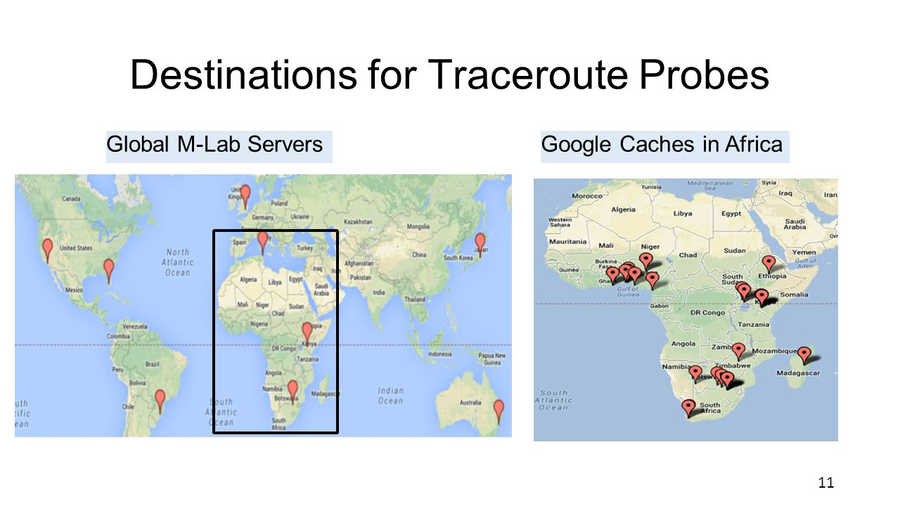 Destinations for Traceroute Probes Global M-Lab ServersGoogle Caches in Africa 11