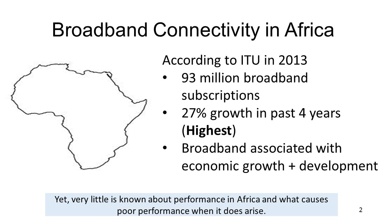 Broadband Connectivity in Africa According to ITU in 2013 93 million broadband subscriptions 27% growth in past 4 years (Highest) Broadband associated with economic growth + development Yet, very little is known about performance in Africa and what causes poor performance when it does arise.