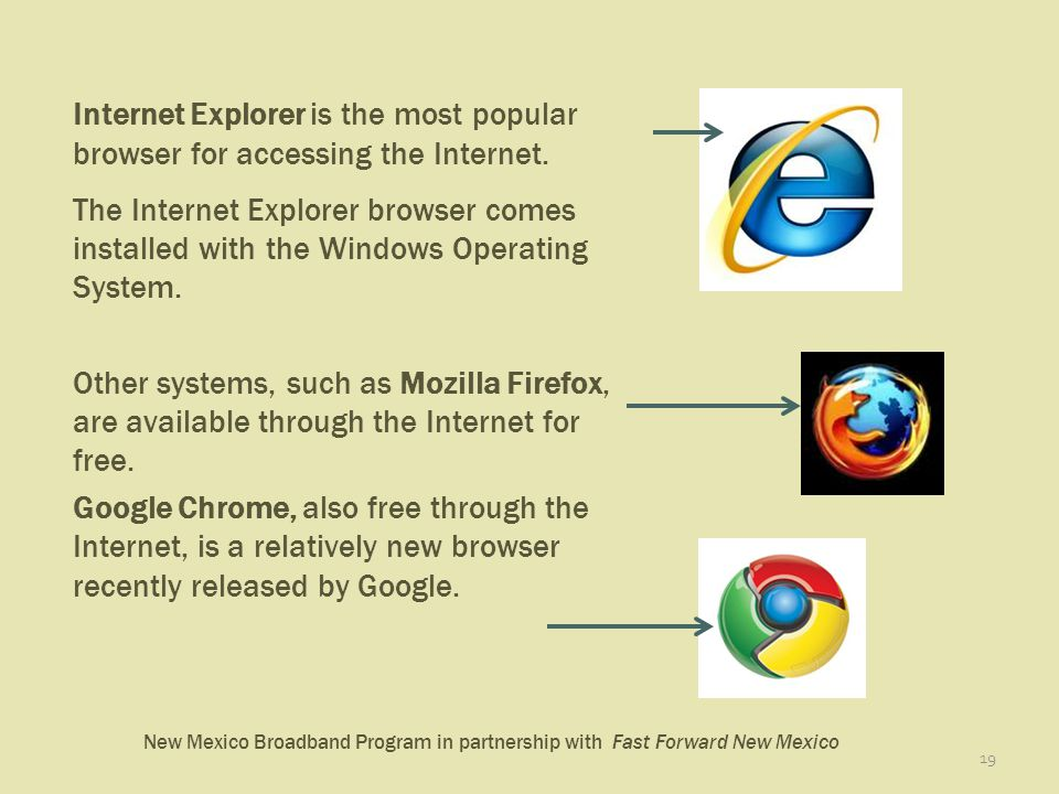 New Mexico Broadband Program in partnership with Fast Forward New Mexico 19 Internet Explorer is the most popular browser for accessing the Internet.