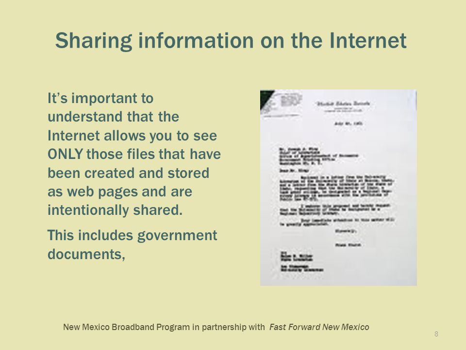New Mexico Broadband Program in partnership with Fast Forward New Mexico The central, long box at the top of your browser is called the address bar.