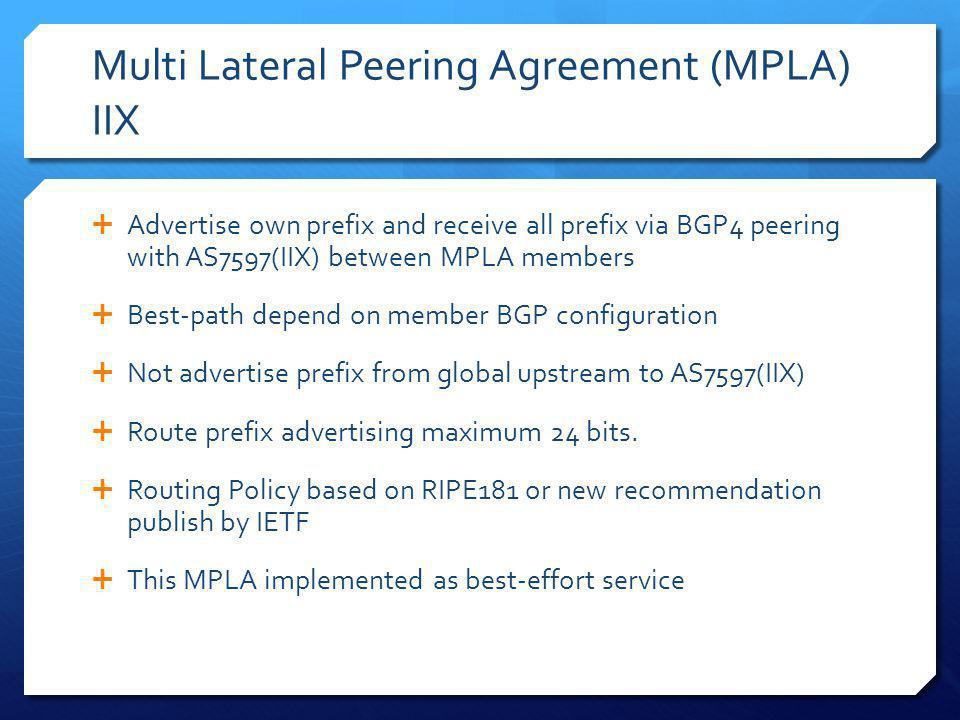 Multi Lateral Peering Agreement (MPLA) IIX Advertise own prefix and receive all prefix via BGP4 peering with AS7597(IIX) between MPLA members Best-pat