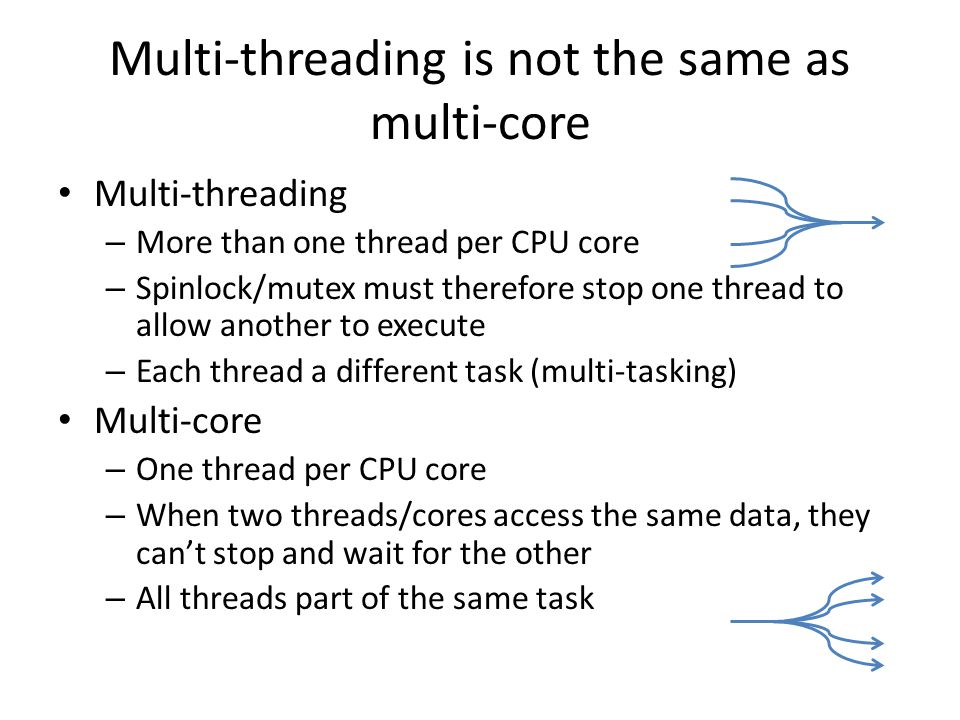 Multi-threading is not the same as multi-core Multi-threading – More than one thread per CPU core – Spinlock/mutex must therefore stop one thread to a