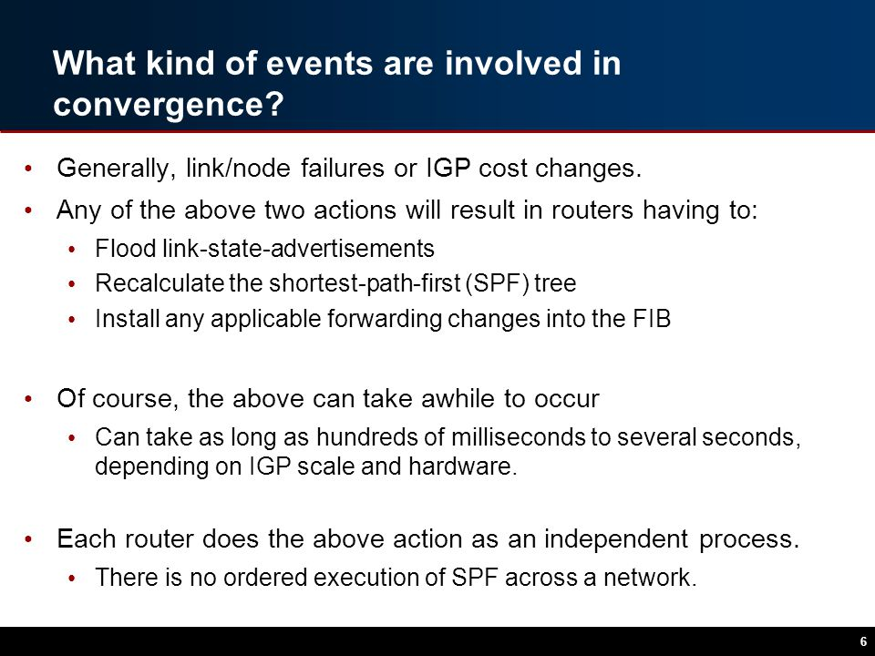 What kind of events are involved in convergence. Generally, link/node failures or IGP cost changes.