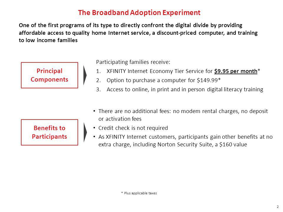 2 The Broadband Adoption Experiment One of the first programs of its type to directly confront the digital divide by providing affordable access to quality home Internet service, a discount-priced computer, and training to low income families Participating families receive: 1.XFINITY Internet Economy Tier Service for $9.95 per month* 2.Option to purchase a computer for $149.99* 3.Access to online, in print and in person digital literacy training Benefits to Participants * Plus applicable taxes There are no additional fees: no modem rental charges, no deposit or activation fees Credit check is not required As XFINITY Internet customers, participants gain other benefits at no extra charge, including Norton Security Suite, a $160 value Principal Components